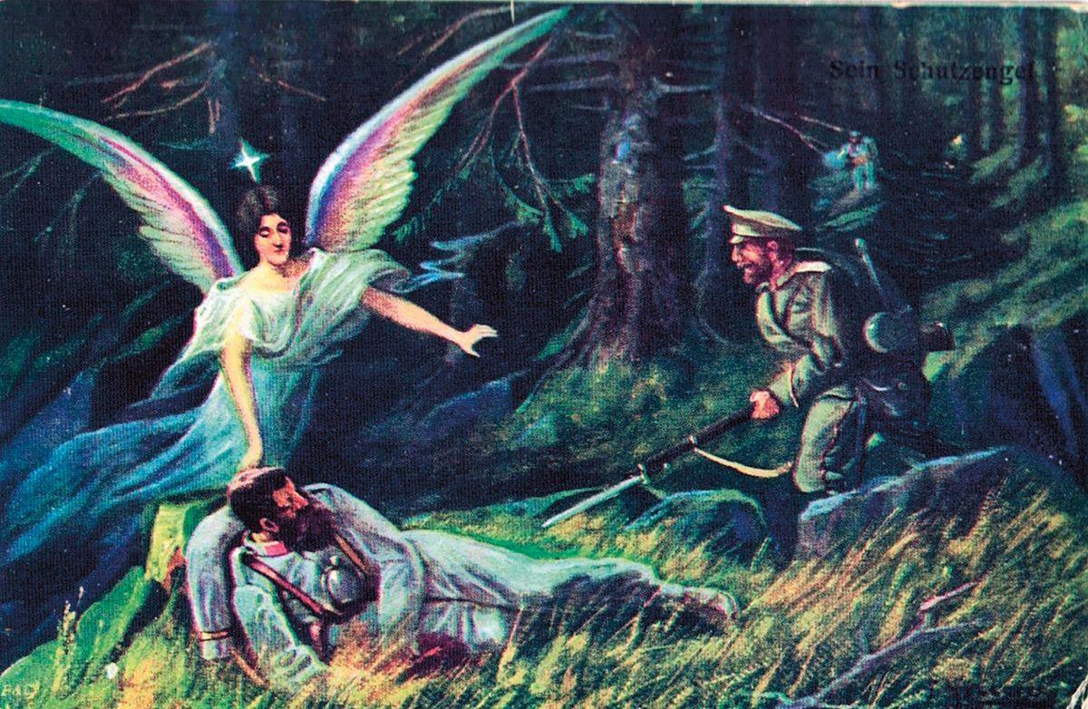 Představy některých vojáků - anděl strážný zasahuje a muže zachrání.