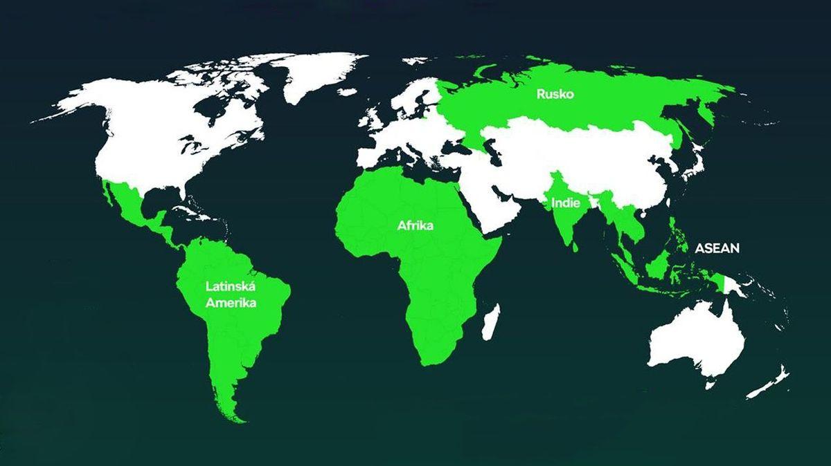 Platforma MQB-A0 bude určena pro tyto země. Všimněte si, že EU k nim nepatří.