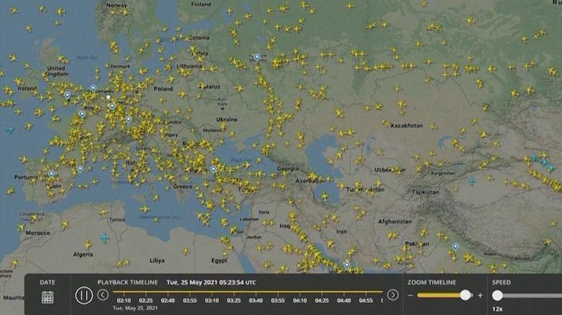 Záběry z letového radaru: Totální bojkot běloruského vzdušného prostoru
