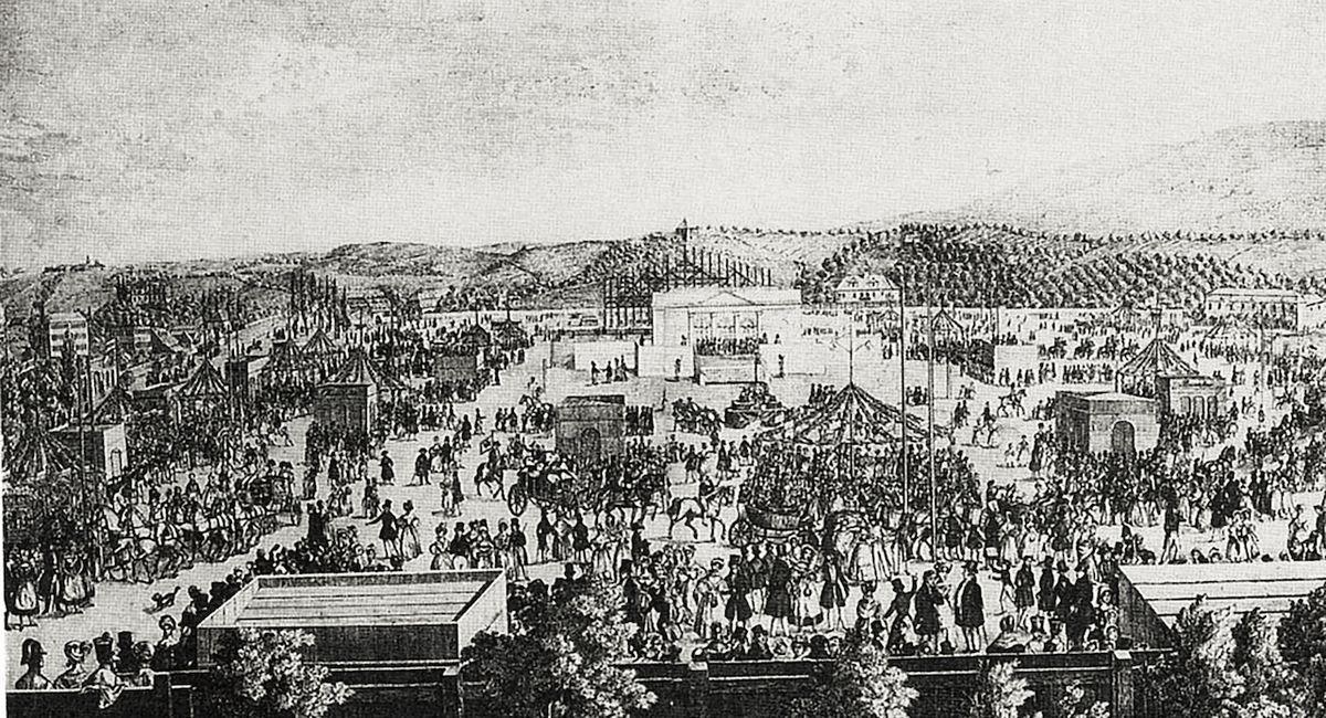 Lidová slavnost na pražské Invalidovně v roce 1836. Vysloužilci se jí s chutí účastnili.
