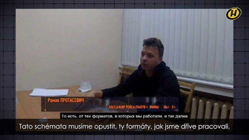 Musíme počkat, až Bělorusové vyjdou do ulic z hladu, řekl vězněný novinář Pratasevič