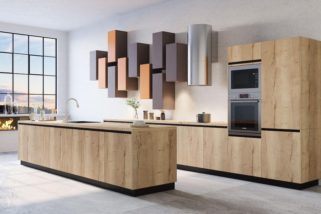 Ostrůvková kuchyně s mycím centrem a pracovní plochou má ve spodních skříňkách dostatek úložných prostor.