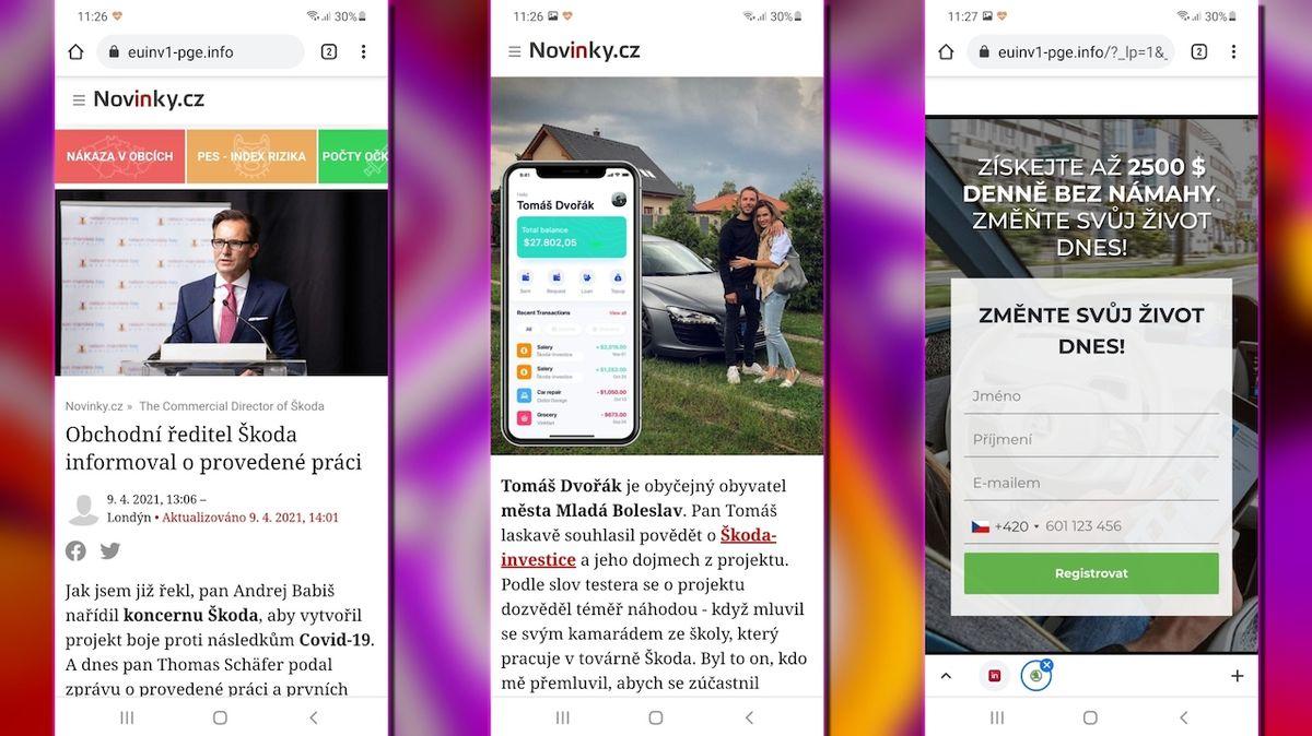Podvodníci zkoušejí nový trik, jak vylákat peníze. Imitují vzhled serveru Novinky.cz