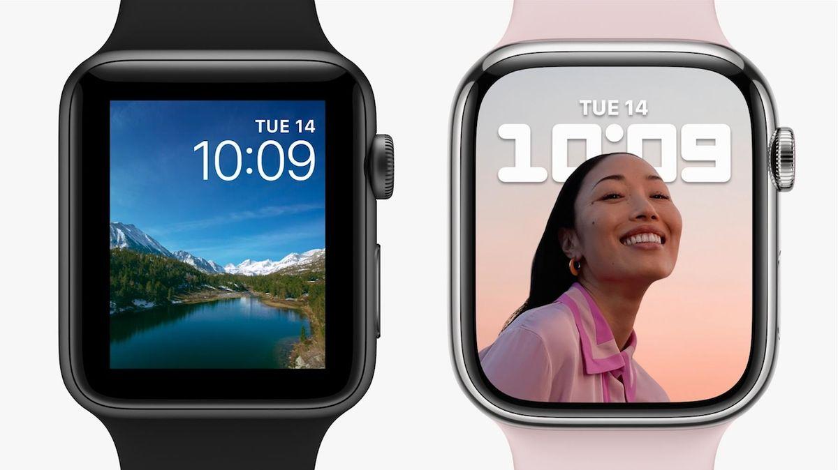 Porovnání starého a nového designu hodinek.