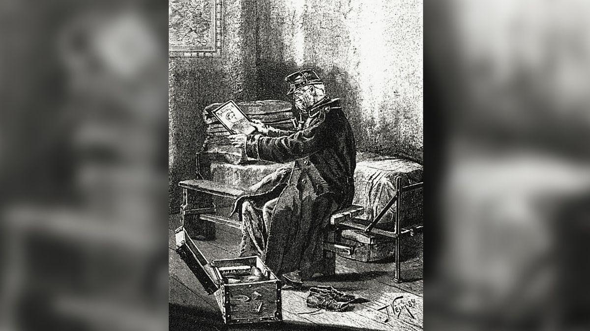 Vysloužilec v Invalidovně si s dojetím prohlíží portrét maršála Josefa Václava Radeckého.
