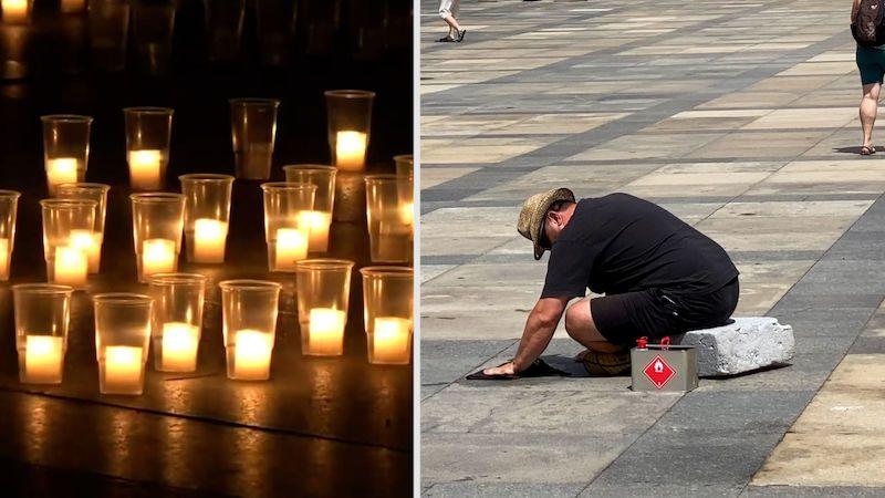 Zemanova pieta zaneřádila nádvoří Hradu, čističi tam klečí doteď