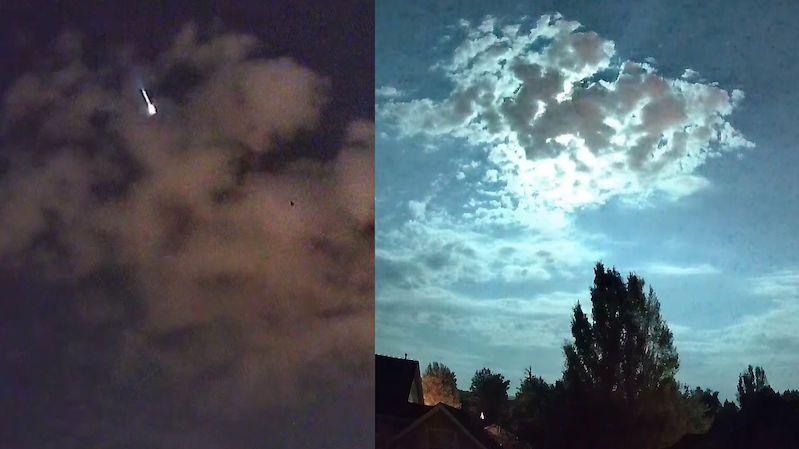 Ohnivý meteor schovaný nad mrakem vykouzlil na nebi úchvatné divadlo
