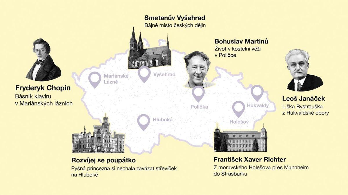Aplikace ukazuje na mapě místa a příběhy spojené s hudebními legendami