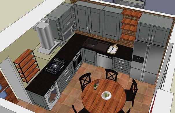 Příklad kuchyně v industriálním stylu, kam se vešla i pračka.