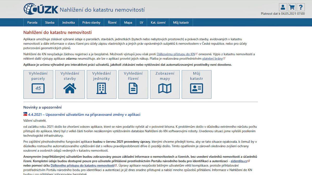 Od června nebude možné anonymně nahlížet do internetového katastru nemovitostí