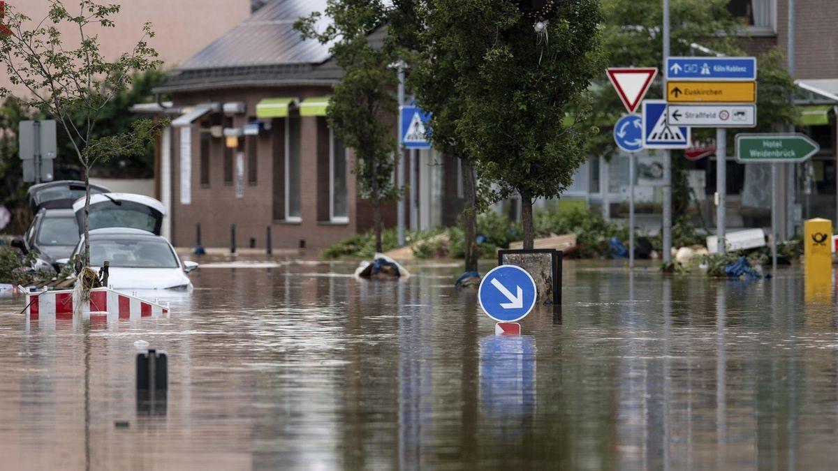 Za extrémní srážky v Německu může nehybná tlaková níže Bernd