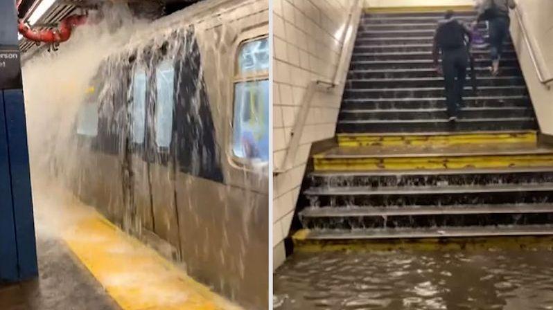 Otevřou se dveře a tam vodopád. Záběry z vytopeného metra v New Yorku