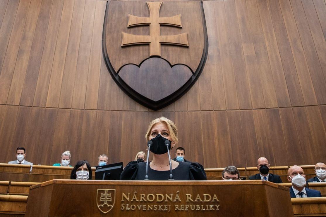 Slovenská prezidentka Zuzana Čaputová při projevu se Zprávou o stavu republiky