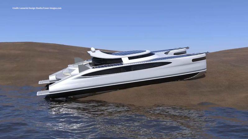 Luxusní katamarán inspirovaný krabem je doma ve vodě i na suchu