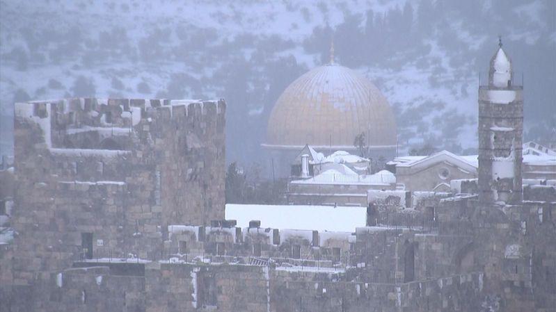 Jeruzalém zasypal po letech sníh, vytvořil ojedinělé panorama