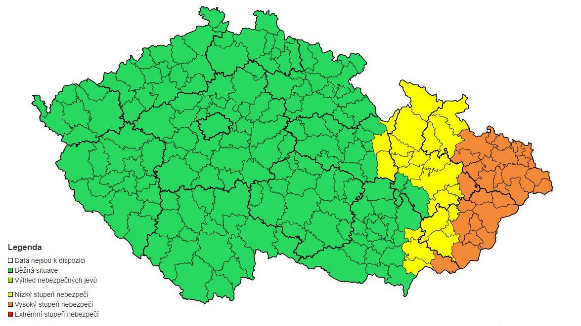 Na Moravě a východě Čech hrozí záplavy, varovali meteorologové