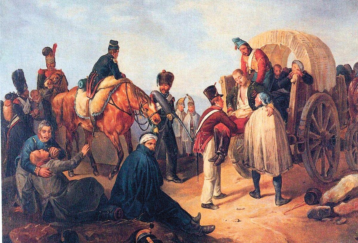 Odsun raněných vojáků na vozech z roku 1792 při válečném střetu Rakouska a Pruska s revoluční Francií. Mnozí veteráni poté skončili v invalidovnách.