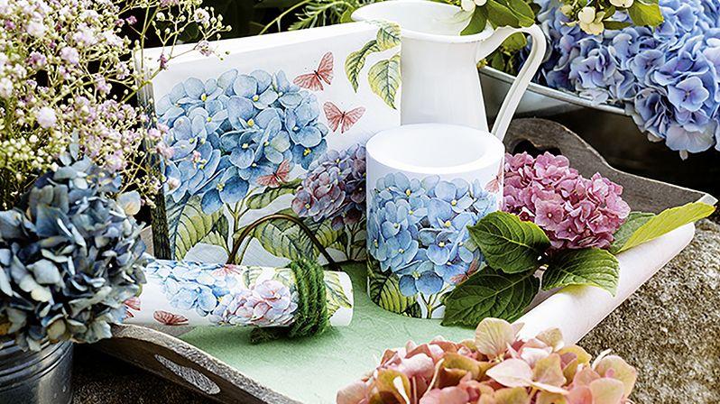 Hortenzie jsou něžným dekorativním motivem do dámských pokojů