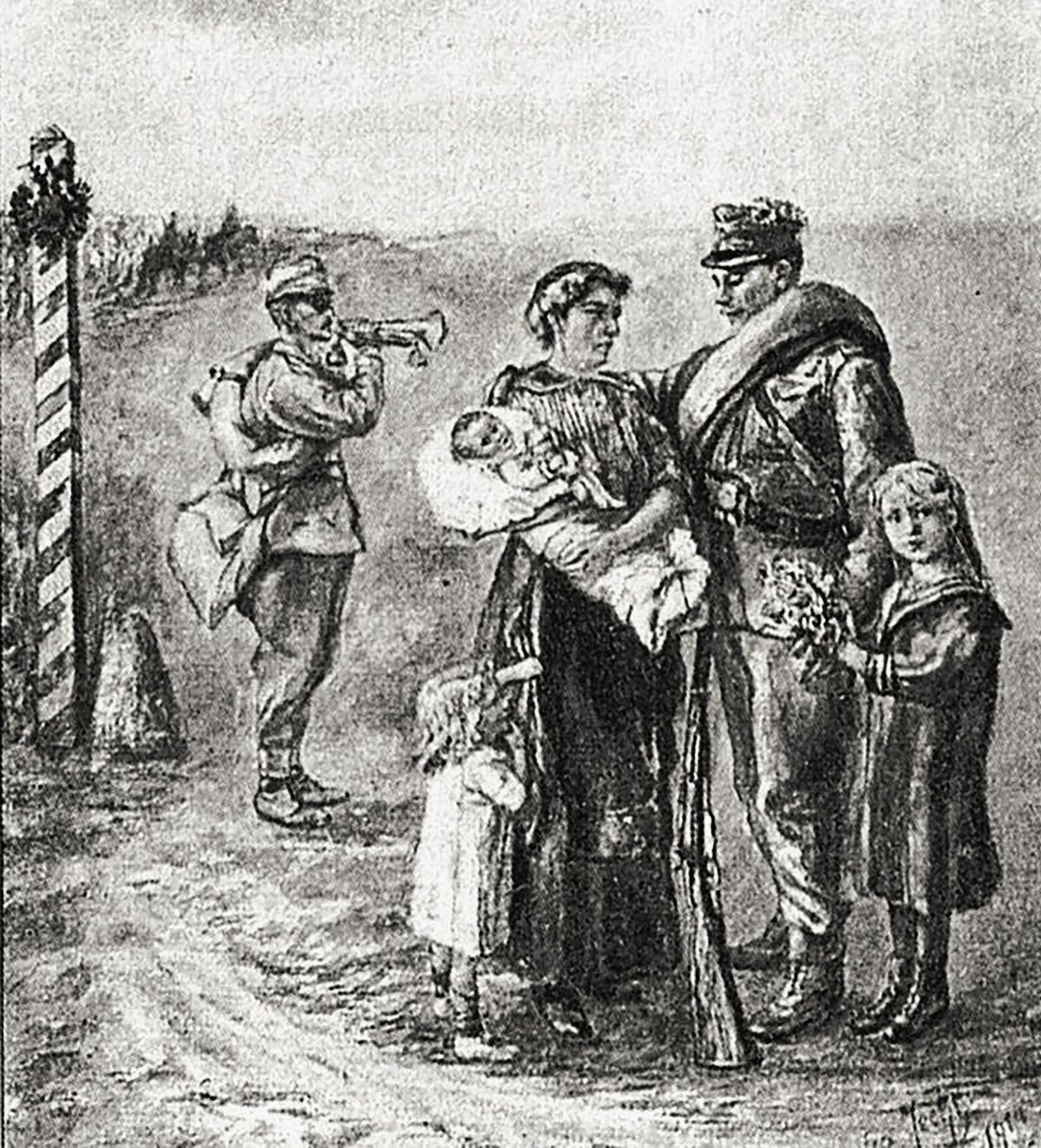 Válka začala pro vojáky rozloučením s rodinou.