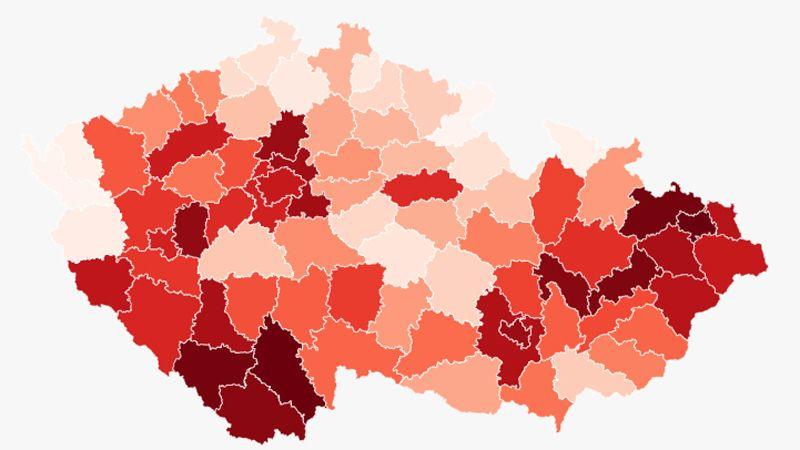 Koronavirová mapa: Nejtmavší jsou Moravskoslezský a Jihočeský kraj