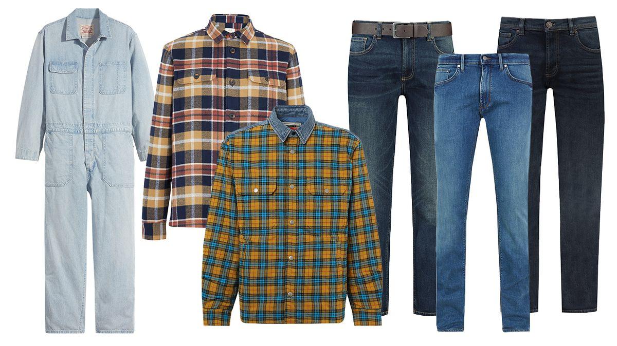 Zleva: Overal, Levi's, 3499 Kč. Košile, Marks & Spencer, 1299 Kč. Košile, Diesel, 3899 Kč. Džíny, F&F, 599 Kč. Džíny, Marks & Spencer, 799 Kč. Džíny, F&F, 599 Kč