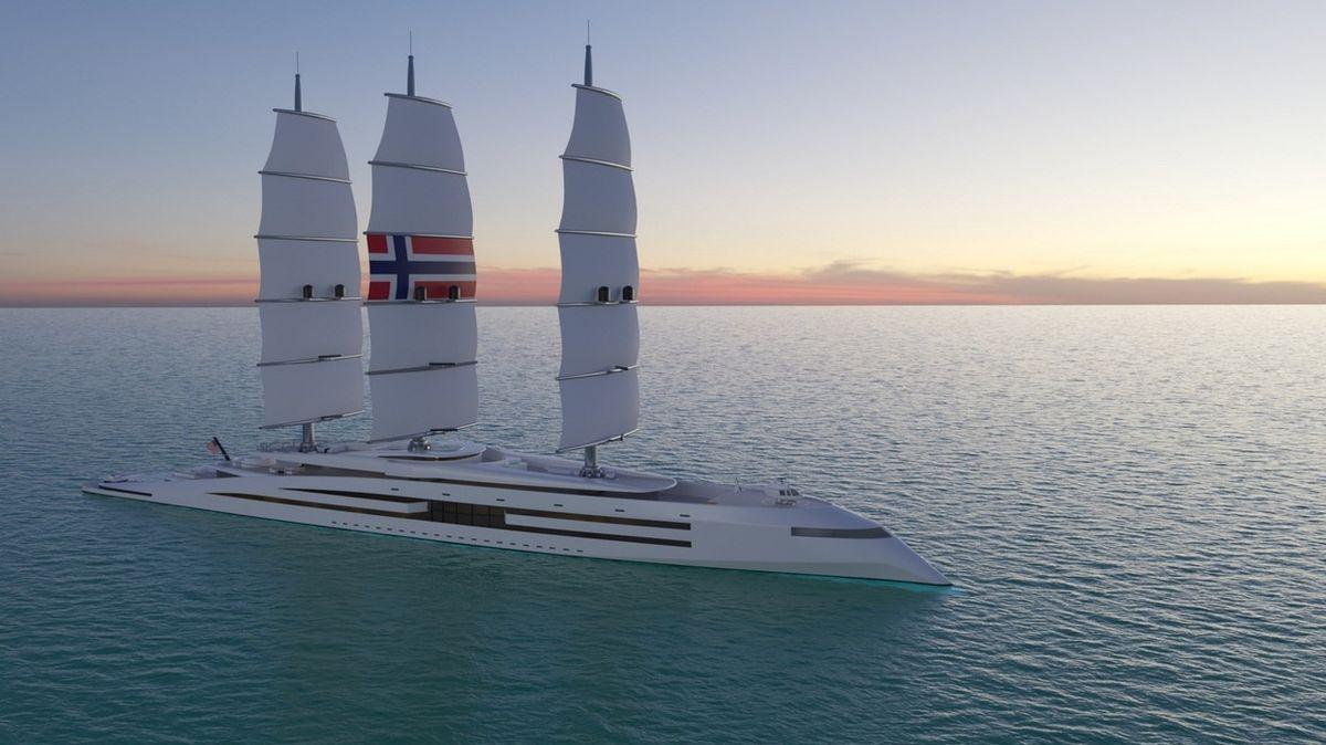 Superjachta poháněná sluncem je inspirována vikinskými plavidly