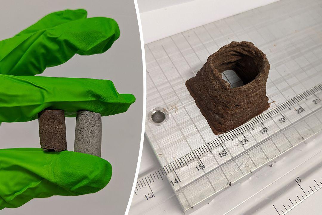 Vlevo tzv. biokompozity z Marsu a Měsíce, vpravo ten z Marsu vytisknutý na 3D tiskárně (ilustrační foto)