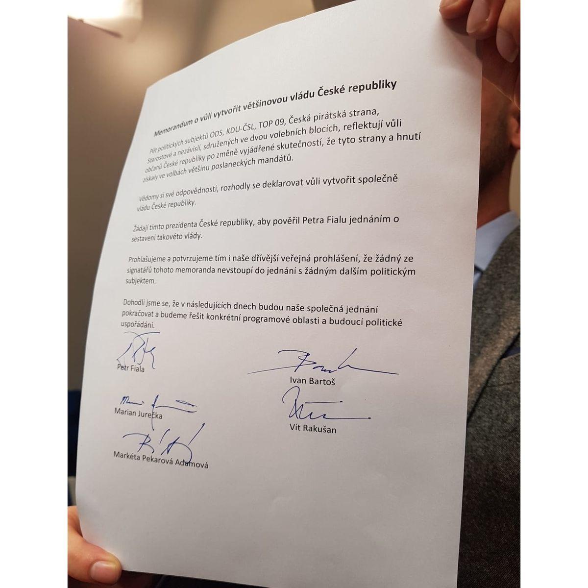 Memorandum o vůli vytvořit společně většinovou vládu